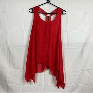 Women's Studio-W Red Sleeveless T-Back Handkerchief Hem Blouse Size 14